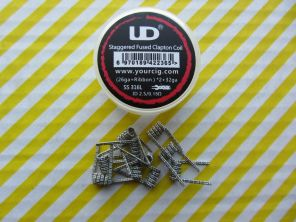 10шт. UD Staggered Fused Clapton SS316L Coil (26GA+Ribbon)x2+32GA